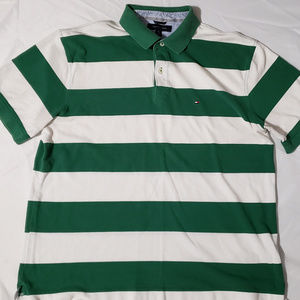 Tommy Hilfiger Striped Polo Green White Shirt XL